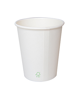 vasos bebidas calientes 1 pared 'biodegradable' 360 ml 280 + 30 pla g/m2 Ø9/6x11 cm blanco cartoncillo+pla (900 unid.)