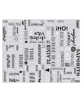 carta imballaggio cesto 'parole' 35+20 g/m2 31x38 cm argento pergamena + alluminio (1000 unitÀ)