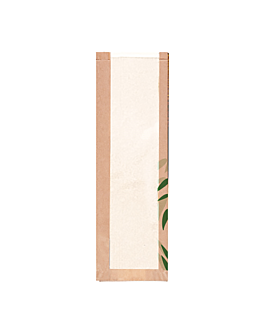 bread bags with eco window 'feel green' 32 gsm 14+4x48 cm natural kraft (250 unit)