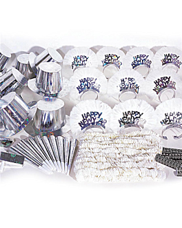 "holographic christmas assortment 50 people ""savoy"" 57x37x34 cm silver (1 unit)"