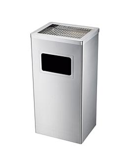 poubelle/cendrier, rectangulaire 30x24x62 cm argente inox (1 unitÉ)