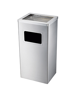 ashtray/bin, rectangular 30x24x62 cm silver stainless steel (1 unit)