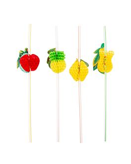 """pailles dÉcorÉes flexibles """"fruits"""" 23 cm assorti pp (100 unitÉ)"""