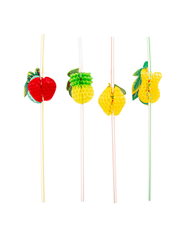 "cannucce decoratie flessibile ""frutta"" 23 cm colori varie pp (100 unitÀ)"