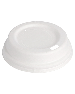 lids for coffee cups 240 ml 'bionic' Ø 85 mm white bagasse (1000 unit)