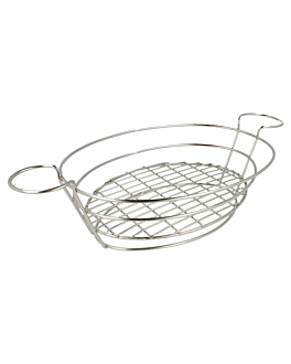 oval basket 39,5x20,5x8 cm silver stainless steel (1 unit)