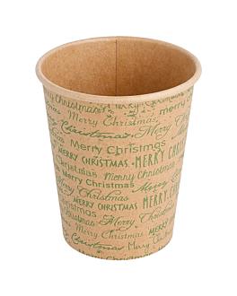 gobelets boissons chaudes 1 paroi 'merry christmas' 240 ml 280 + 18pe g/m2 Ø7,9x9,2 cm naturel kraft (1000 unitÉ)