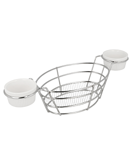 oval baskets + 2 tubs 26x10x5,3 cm silver stainless steel (6 unit)