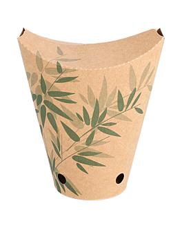 chips cups closed 'feel green' 12 oz - 360 ml 200 + 25(ldpe) gsm 6,7x12,5 cm brown cardboard (100 unit)