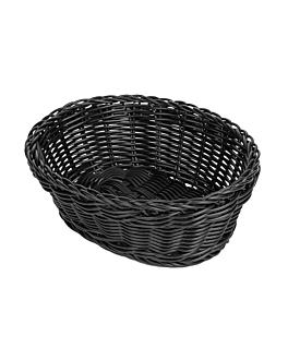 oval baskets imitation wicker 23x17x8 cm black pp (12 unit)