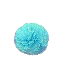 pom pom flower Ø 25 cm azul (10 unid.)