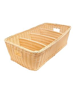 cutlery basket imitation wicker 53x31x15 cm natural pp (1 unit)