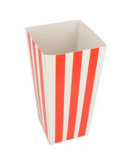 recipients pop-corns 'stripes' 1 l 320 g/m2 6,5x8,7x17,4 cm blanc carton (800 unitÉ)