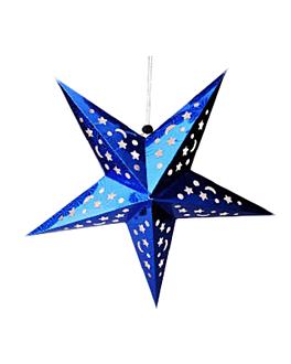 estrellas colgantes Ø 90 cm azul papel (10 unid.)