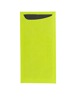 cutlery sachets + napkin 'just in time' 90 + 10pe gsm + (17gsm) 11,2x22,5 cm aniseed green cellulose (400 unit)