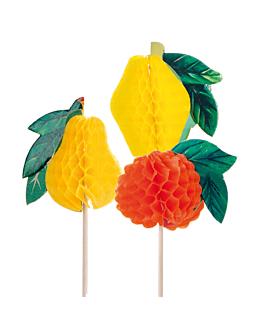 decorazioni per gelati - frutta piccoli 10 (h) cm colori varie legno (100 unitÀ)
