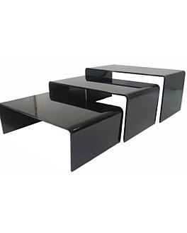 3 u. stands buffet 30x15x6/9/11 cm noir acrylique (1 unitÉ)