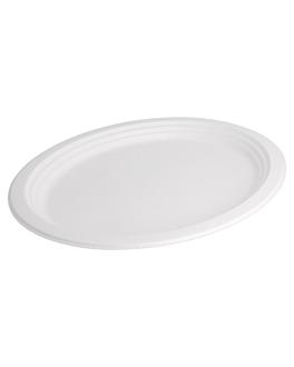 assiettes ovales 'bionic' 32x25,5x2,1 cm blanc bagasse (200 unitÉ)