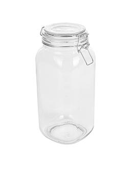 storage jar + clip lid 2 l Ø 10,5x26 cm clear glass (12 unit)