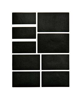 2 hojas (18 u.) etiquetas rectangulares  negro vinilo (12 unid.)
