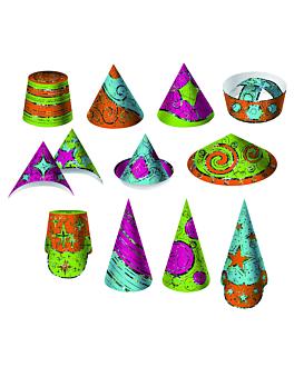 sombreros hologrÁficos 7,5/23 (h) cm cartoncillo (12 unid.)