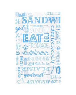 pochettes hamburgers 'parole' 32 g/m2 12+7x18 cm bleu parch.ingraissable (500 unitÉ)