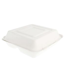 """coquilles """"l"""" 3 compart. 'bionic' 25x25x7,5 cm blanc bagasse (250 unitÉ)"""