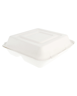 "caixas ""l"" 3 compart. 'bionic' 25x25x7,5 cm branco bagaÇo (250 unidade)"