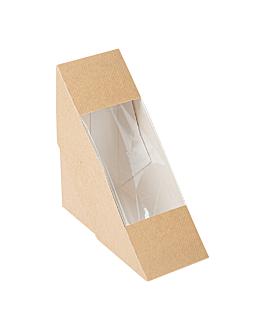 sandwich boxes w/window - single 'thepack' 220 gsm + opp 12,4x12,4x5,5 cm natural nano-micro corrugated cardboard (500 unit)