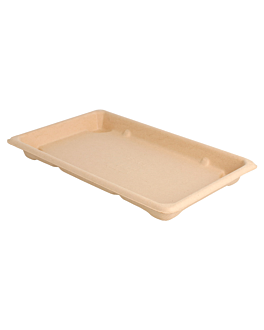 sushi boxes 'bionic' 21,3x13,3x1,5 cm natural bagasse (800 unit)