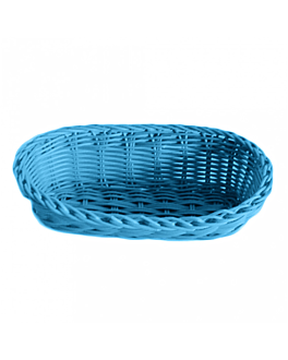 cestas sÍmil mimbre alargadas 23x9x8 cm azul turquesa pp (12 unid.)