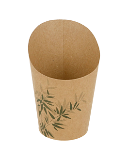open cups chips 'feel green' 9 oz - 270 ml 200 + 25pe gsm Ø7x10,5 cm brown cardboard (100 unit)