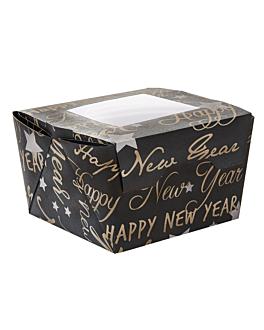 cajitas con ventana 'happy new year' 300 ml 300 g/m2 8x7,5x5,5 cm negro cartoncillo (600 unid.)
