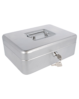 cash box 25x18x9 cm grey steel (1 unit)