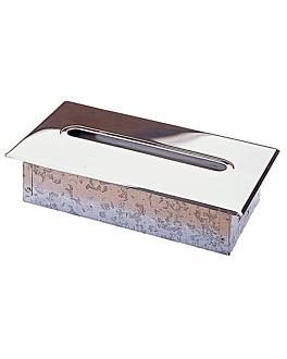 dispenser paÑuelos faciales empotrable 29,5x15,7x7 cm plateado cromo (1 unid.)