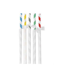 wrapped striped straws Ø0,80x23,5 cm assorted paper (3000 unit)