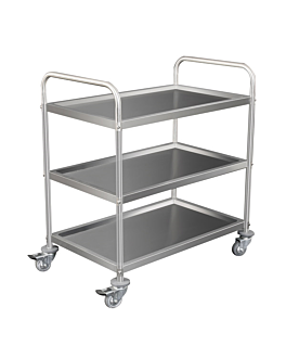 service trolley 3 shelves 86x53,5x93 cm silver stainless steel (1 unit)