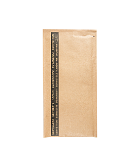 wrapped black napkins 33x40 cm 'airlaid - napoli' 80 + 10pe gsm 11,2x22,5 cm natural kraft ribbed (250 unit)