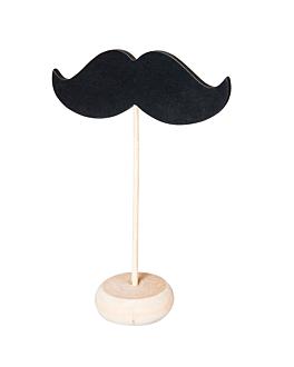 3 u. mini ardoises forme moustache + piÉdestal 11,4x4,5x10 cm noir bois (12 unitÉ)