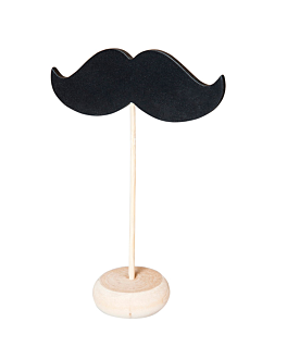 3 u. mini moustache shape blackboards + pedestal 11,4x4,5x10 cm black wood (12 unit)