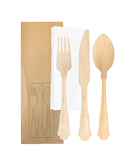 cutlery set fork, knife, spoon+napkin wrapped kraft 'classic' 20 cm natural wood (100 unit)