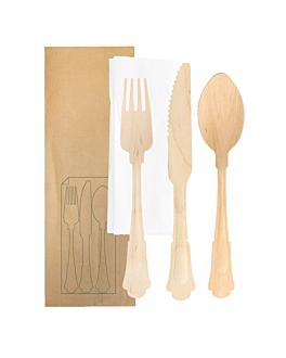 set fourchette, couteau, cuillÈre+serviette emb. kraft 'classic' 20 cm naturel bois (100 unitÉ)
