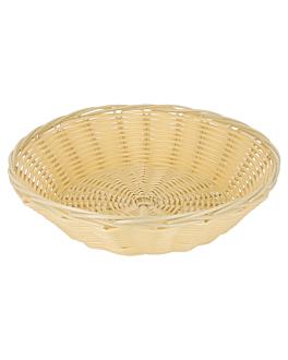 cestas sÍmil mimbre redondas Ø 21x6 cm natural pp (12 unid.)
