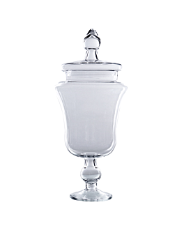 decoration jar with lid Ø 15,3/20x49 cm clear glass (1 unit)