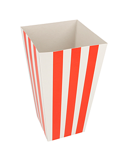 recipients pop-corns 'stripes' 2 l 320 g/m2 8x11x20,5 cm blanc carton (800 unitÉ)