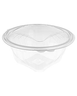 ensaladeras con tapa bisagra 1500 ml Ø 18,2x12,1 cm transparente rpet (300 unid.)