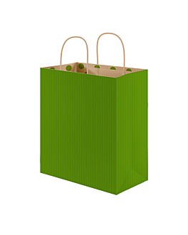 "bolsas sos con asas - int.""topos"" 80 g/m2 26+14x32 cm verde kraft (250 unid.)"