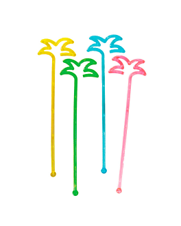 """palm tree"" drink stirrers 18 cm assorted ps (100 unit)"