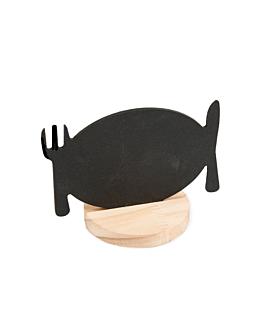pizarras sobremesa + soportes 12,7x8 cm negro madera (1 unid.)