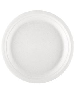 assiettes 'bionic' Ø 23x2 cm blanc bagasse (1000 unitÉ)